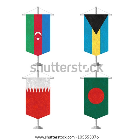 Nation Flag. Table flag recycled paper on white background. ( Azerbaijan , Bahamas , Bahrain , Bangladesh ) - stock photo