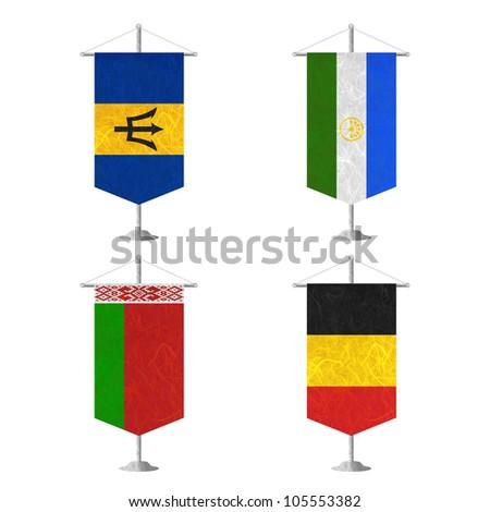 Nation Flag. Table flag recycled paper on white background. ( Barbados , Bashkortostan , Belarus , Belgium ) - stock photo
