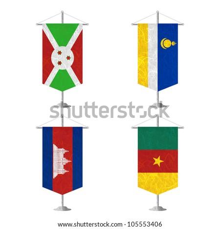 Nation Flag. Table flag recycled paper on white background. ( Burundi , Buryatia , Cambodia , Cameroon ) - stock photo
