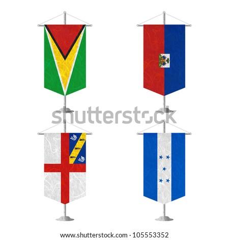 Nation Flag. Table flag recycled paper on white background. ( Guyana , Haiti , Herm , Honduras ) - stock photo