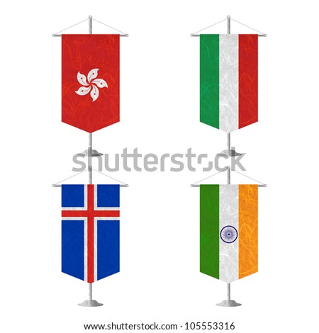 Nation Flag. Table flag recycled paper on white background. ( Hong Kong , Hungary , Iceland , India ) - stock photo
