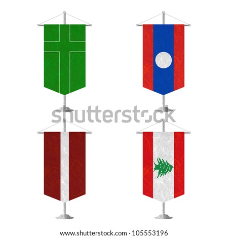 Nation Flag. Table flag recycled paper on white background. ( Ladonia , Laos , Latvia , Lebanon ) - stock photo
