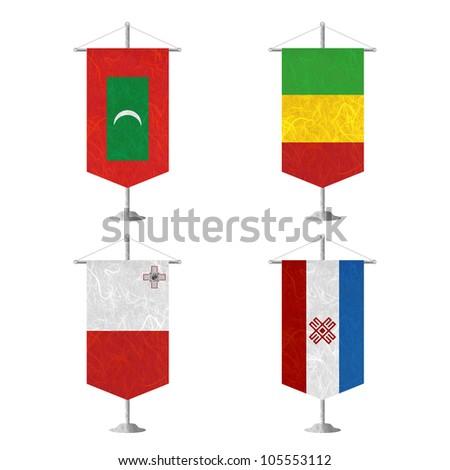 Nation Flag. Table flag recycled paper on white background. ( Maldives , Mali , Malta , Mari El ) - stock photo