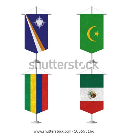 Nation Flag. Table flag recycled paper on white background. ( Marshall Islands , Mauritania , Mauritius , Mexico ) - stock photo