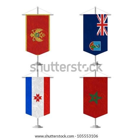 Nation Flag. Table flag recycled paper on white background. ( Montenegro , Montserrat , Mordovia , Morocco ) - stock photo