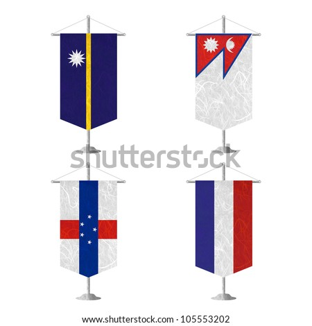 Nation Flag. Table flag recycled paper on white background. ( Nauru , Nepal , Netherlands Antilles , Netherlands ) - stock photo