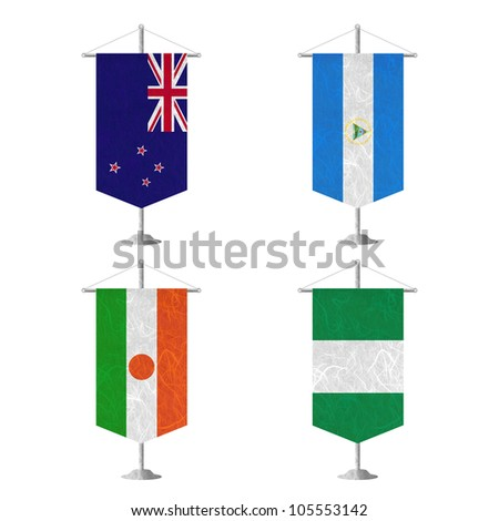 Nation Flag. Table flag recycled paper on white background. ( New Zealand , Nicaragua , Niger , Nigeria ) - stock photo