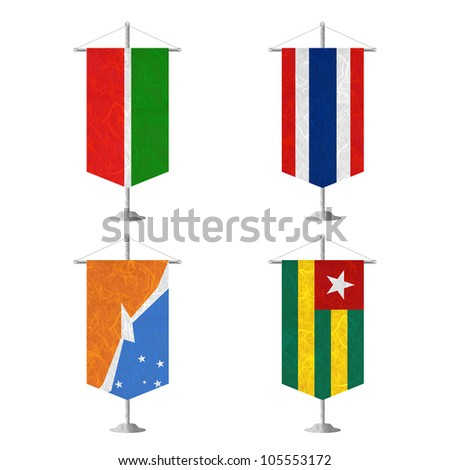 Nation Flag. Table flag recycled paper on white background. ( Tatarstan , Thailand , Tierra del Fuego Province - Argentina , Togo ) - stock photo
