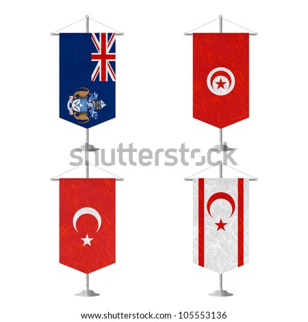 Nation Flag. Table flag recycled paper on white background. ( Tristan da Cunha , Tunisia , Turkey , Turkish Republic of Northern Cyprus ) - stock photo