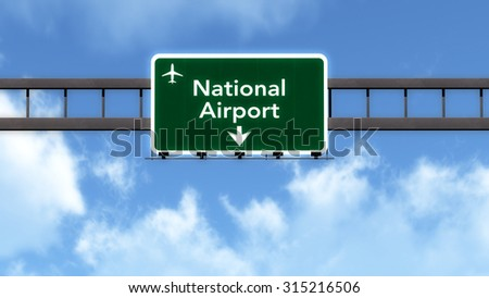 National Airport Highway Road Sign 3D Illustration