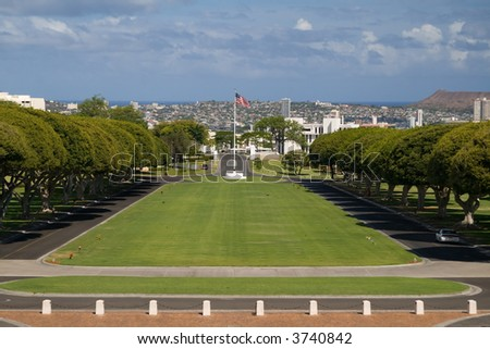 National cemetery in Honolulu's Punchbowl - stock photo