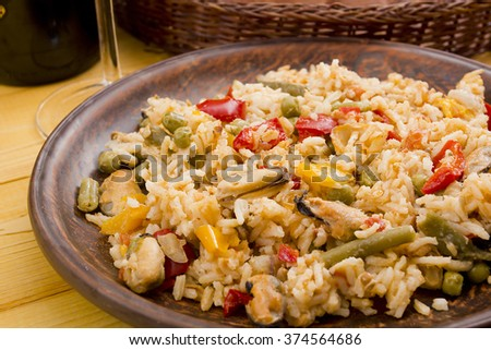 National dish of Spain - Fish paella. A dish which uses the spice saffron.