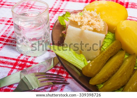national dish: salty cucumbers, meat jelly with potatoes and vodka - stock photo