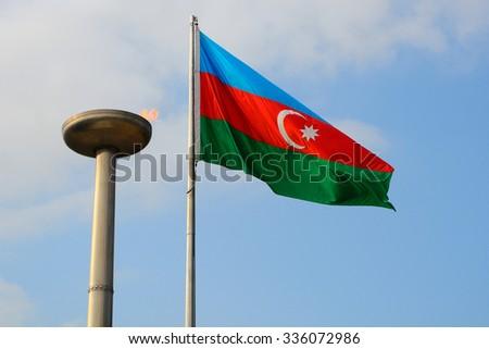 National flag, Baku, Azerbaijan - stock photo