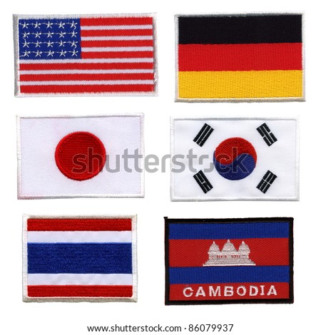 National flag, made ??of woven fabric, on a white background with Clipping Part.