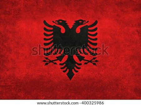 National flag of Albania with distressed vintage treatment - stock photo