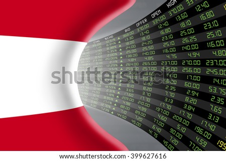 National flag of Austria with a large display of daily stock market price and quotations during economic booming period. The fate and mystery of Vienna stock market, tunnel / corridor concept. - stock photo