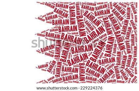 National flag of Bahrain. Word cloud illustration. - stock photo