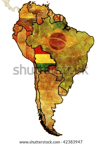 national flag of bolivia in country territory with other countries flags - stock photo
