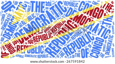 National flag of Democratic Republic of Congo. Word cloud illustration. - stock photo