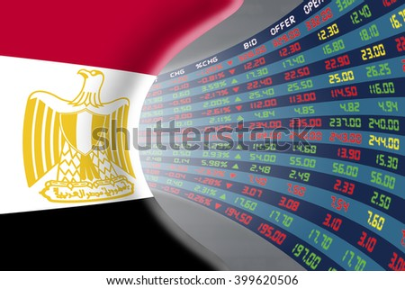 National flag of Egypt with a large display of daily stock market price and quotations during normal economic period. The fate and mystery of Cairo stock market, tunnel / corridor concept. - stock photo