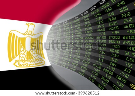 National flag of Egypt with a large display of daily stock market price and quotations during economic booming period. The fate and mystery of Cairo stock market, tunnel / corridor concept. - stock photo