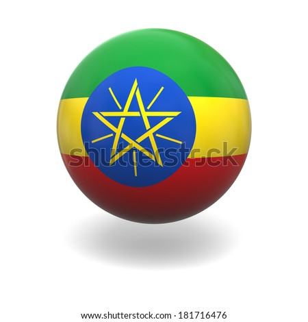 National flag of Ethiopia on sphere isolated on white background