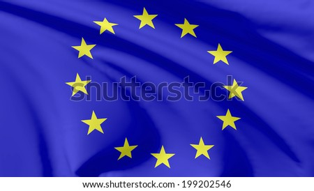National flag of European Union (Europe) flying in the wind, 3d illustration closeup view