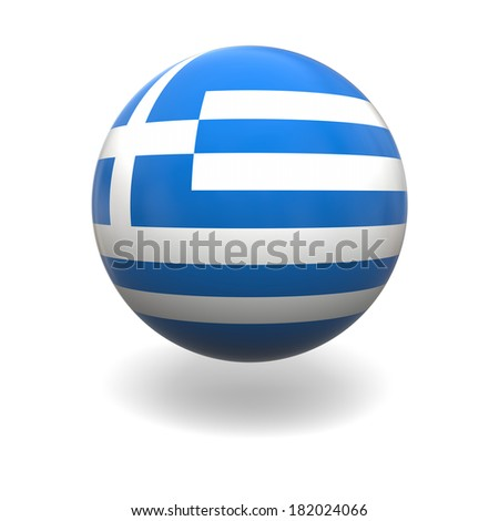 National flag of Greece on sphere isolated on white background - stock photo