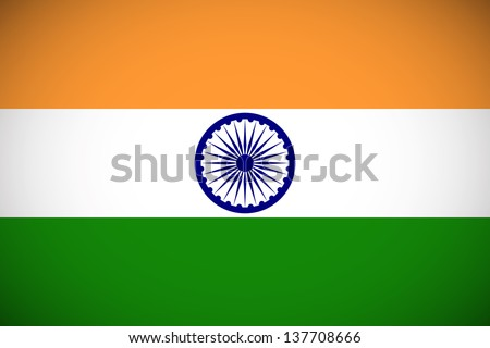 National flag of India with correct proportions and color scheme (raster illustration) - stock photo