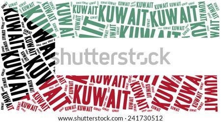 National flag of Kuwait. Word cloud illustration. - stock photo