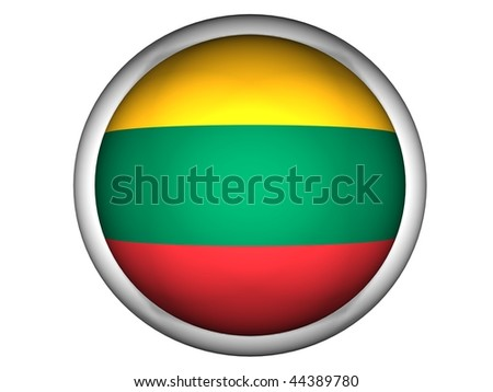 National Flag of Lithuania | Button Style | - stock photo