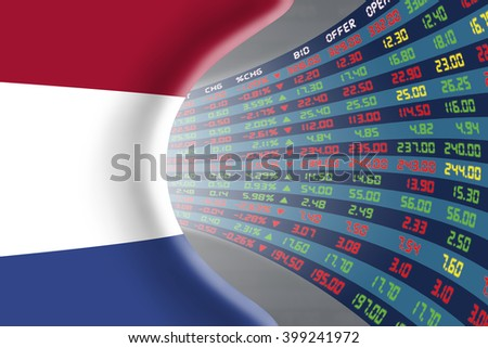 National flag of Netherlands with a large display of daily stock market price and quotations during normal economic period. The fate and mystery of Amsterdam stock market, tunnel / corridor concept. - stock photo