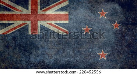 National flag of New Zealand - distressed vintage texture - stock photo