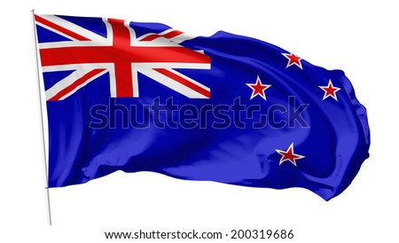 National flag of New Zealand on flagpole flying in the wind isolated on white, 3d illustration