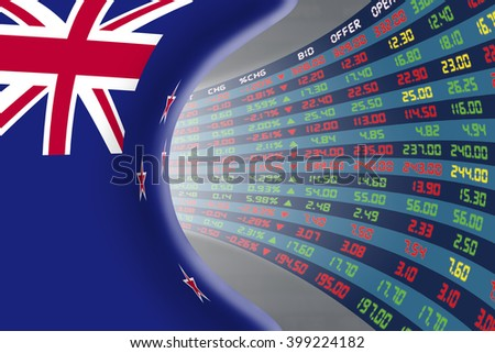 National flag of New Zealand with a large display of daily stock market price and quotations during normal economic period. The fate and mystery of Wellington stock market, tunnel / corridor concept. - stock photo