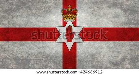 National flag of Northern Ireland (the Ulster banner) textured and distressed version - stock photo