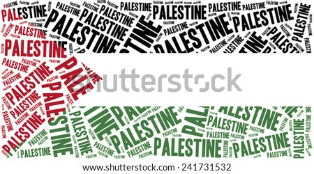 National flag of Palestine. Word cloud illustration. - stock photo