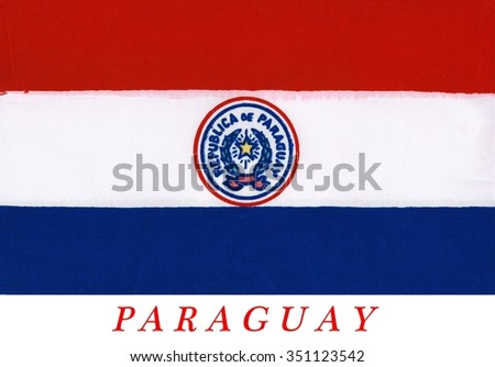 National flag of Paraguay - adopted in 1842. It is unusual because the insignia differs on obverse and reverse sides of the flag (this the obverse side). - stock photo