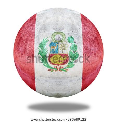 National flag of Peru flag pattern on stone circle shape texture - stock photo