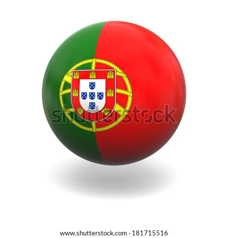 National flag of Portugal on sphere isolated on white background