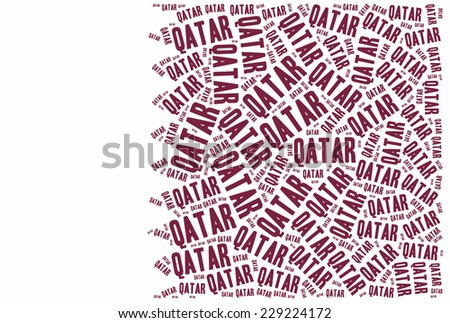 National flag of Qatar. Word cloud illustration. - stock photo