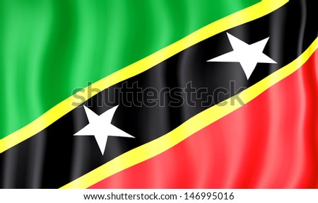 National flag of Saint Kitts and Nevis - stock photo