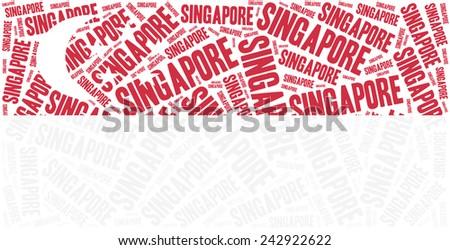 National flag of Singapore. Word cloud illustration. - stock photo
