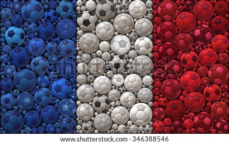 National Flag of the French Republic Soccer Balls Mosaic Illustration Design Concept Sport Background - stock photo