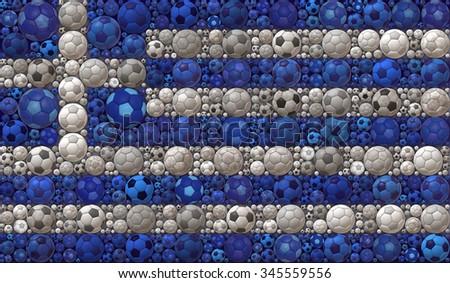 National Flag of the Hellenic Republic Soccer Balls Mosaic Illustration Design Concept Sport Background - stock photo