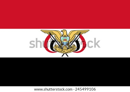 National flag of the Republic of Yemen (with Emblem in center) - Authentic version both in color and scale, large file size - stock photo