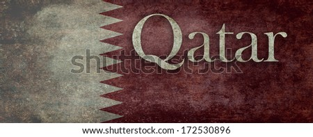 National flag of the State of Qatar, Vintage distressed (to scale) version - stock photo