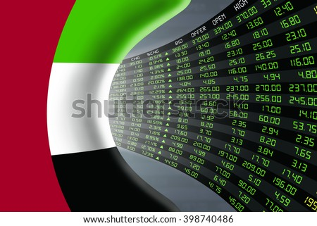 National flag of UAE with a large display of daily stock market price and quotations during economic booming period. The fate and mystery of Abu Dhabi stock market, tunnel/corridor concept. - stock photo