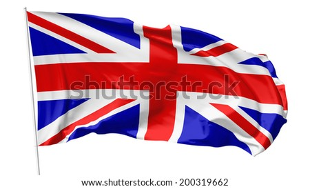 National flag of United Kingdom of Great Britain on flagpole flying in the wind isolated on white, 3d illustration - stock photo